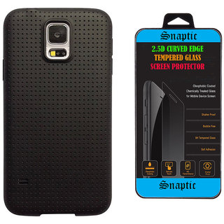 Snaptic Soft Black Dotted Back Cover for Oppo Neo 7 with Tempered Glass