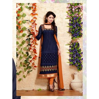 RapidDukan Un-Stitched Navy Blue Color Straight Salwar Suit Dupatta Material SF588