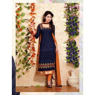 RapidDukan Un-Stitched Navy Blue Color Straight Salwar Suit Dupatta Material SF588