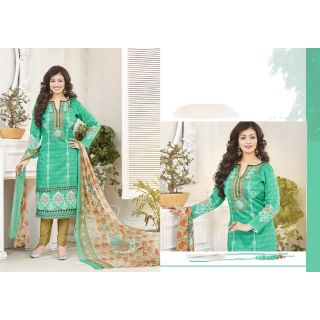 RapidDukan Un-Stitched Green Color Straight Salwar Suit Dupatta Material SF590