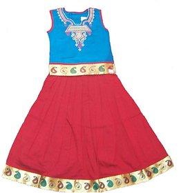 Nakshatra Blue  Red Lehenga (NC 35) (Size 22)