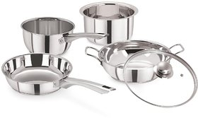 Pristine Induction Compatible Stainless Steel Every Day Cooking Set with Glass Lid, 5PCS, Silver