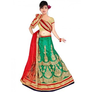 D1011 Party Wear Green Golden designer lengha choli