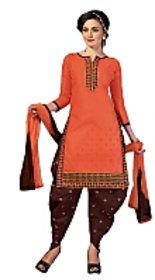 Golden girl Orange maroon color unstiched dress material