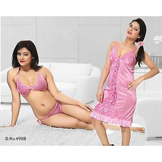Womens Nightwear 3Pc Bra Panty  Babydoll 490B Light Pink Lingerie  Night Dress Fun Sleep Set Daily Bedroom Lounge Cami