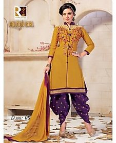 Golden girl yellow purple color unstiched cottan dress material