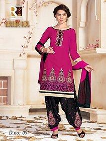 Golden girl pink black color unstiched cottan dress material