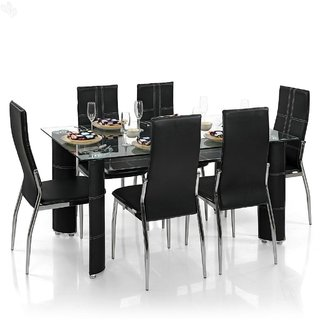 Steel Dining Set With 6 Chairs Black Buy Steel Dining Set With 6 Chairs Black Online At