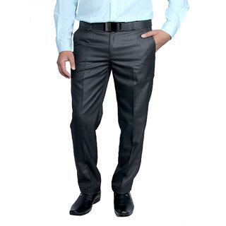 Routeen Mens Premium TR Black Slim Fit Formal Pants