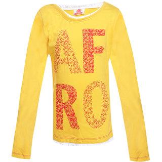 Ufo Girls Golden Yellow Full Sleeve T-Shirt