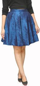 Peepal Blue Self Design Pleated Skirt For Women