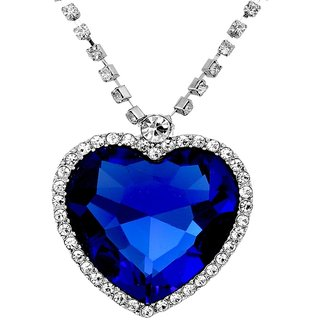 Caratcube Sapphire Blue Heart Of The Ocean Titanic Necklace Austrian Crystal 18K White Gold Plated Pendant for Women