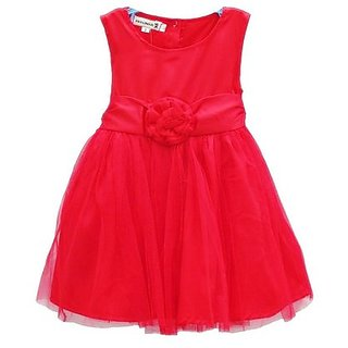 Kids Baby Girls Red Satin Net  Party Dress