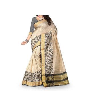 unni stores Womens Banarasi Cotton Saree With Blouse Piece