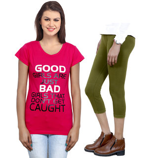 Indistar Girls Cotton T-Shirt  Girls Capri Set of - 2 3100671808-IW