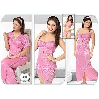 Womens Sleepwear 6pc Bra Panty Top Hot Shorts Nighty Overcoat Daily Night  Robe 488 Pink Bedroom ae66a1111f79