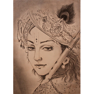 Buy Lord Krishna Pencil Drawing Painting Online 599 From Shopclues