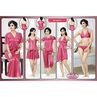 0bb29bf0c0 Womens Sleepwear 8pc Bra Panty Top Skirt Tshirt Capri Baby doll Overcoat  2057C Pink Bed Dress