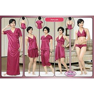 4aa082267f Womens Sleepwear 8pc Bra Panty Top Skirt Tshirt Capri Baby doll Overcoat  Cherry Pink Night Robe