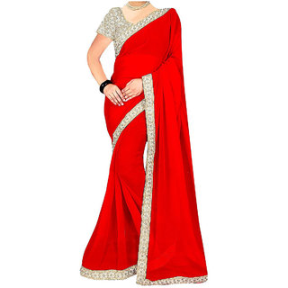 1f463954e18d1 majeed stores Women Party wear Design collection - Georgette Saree with  heavy embroidered work Blouse