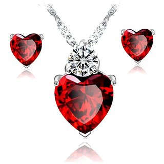 Caratcube Bright Red 18K White Gold Plated Silver Austrian Crystal Heart Shape Pendant Set With Earrings For Women
