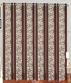 Swastik Brown Kolaveri Polyester Door Curtains (7 Feet) (Set of 6)