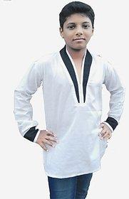 Flora Self Design Boys Pathani Kurta white color