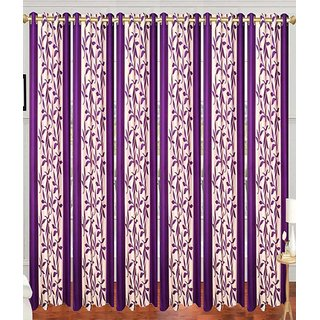 Swastik Purple Polyester Door Eyelet Curtains (7 Feet) (Set of 6)