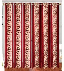 Swastik Red Polyester Door Eyelet Curtains (7 Feet) (Set of 6)