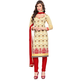 Fabdeal Daily Wear Beige Colored Banarasi Silk Dress Material
