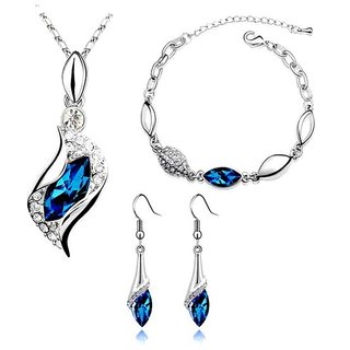 Caratcube Blue 18K White Gold Plated Silver Austrian Crystal Horse Eye Shape Pendant Set With Earrings and Bracelet