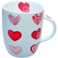 Craft Heart Print Bone China Coffee Mug - White