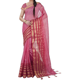 sherif stores womens Ethnic Wear kota Silk saree With Border (PINK free size)