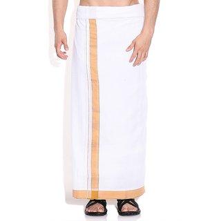 Fashionkiosks Mens Traditional 2 Inch Mustard Colour Border Dhoti