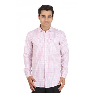 Dizen white pink  Checks  Comfort Fit Casual Shirt