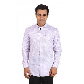 Dizen White Purpul Checks  Comfort Fit Casual Shirt