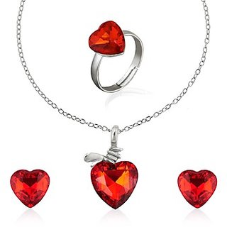 Oleva Austrian Diamond Red Stone Pendant Set (Design 4)
