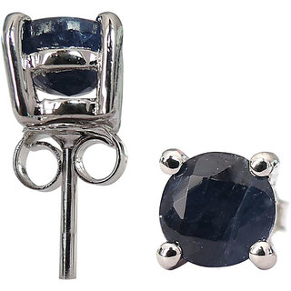 2.43 CTS, 6mm Round Shape Genuine Blue Sapphire .925 Sterling Silver Earrings