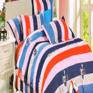 Valtellina Multicolor Stripes Gift Packing Double Bed Sheet with 2 Pillow covers