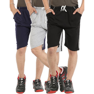 Gumber Pack of 3 Multicoloured Solid Shorts