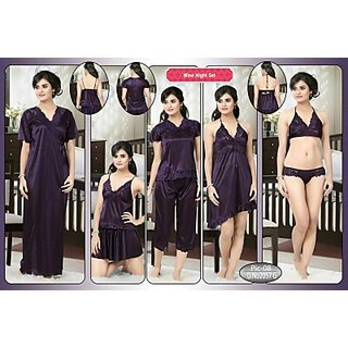 93ff84508b Womens 8pc Sleepwear Bra Panty Top Skirt Tshirt Capri Babydoll Overcoat  2057G Dark Wine Bedroom Set