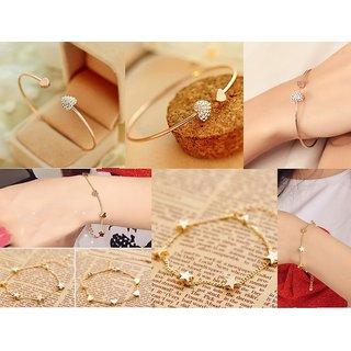 Combo Deal - Lovely Gold Plated Rhinestone Heart Shape Bangle Bracelet  Star Chain Link Bracelet - 2 Qty