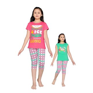 832ee8ed477 Buy Punkster Pink Green Cotton Top Capri Set For Girls Online - Get ...