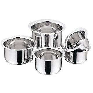 Pristine Straight Shape Induction Stainless Steel Tri Ply Bottom Capsule Base Tope Set (Dia 17 cm, 18 cm, 20 cm, 21 cm,