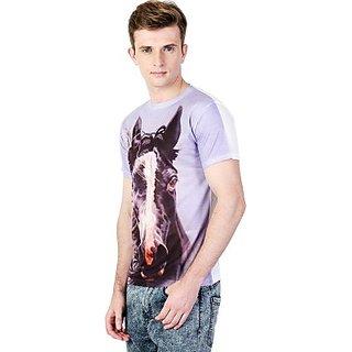 Ushirts Graphic Print Mens Round Neck Light Blue T-Shirt