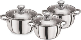 Pristine Silver Stainless Steel Casserole ( Pack Of 3 )