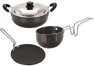 Pristine Cooking Essential Hard Anodised Aluminium Cookware Set, 3 PCS, Black