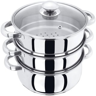 Pristine Tri Ply Induction Base Stainless Steel 3 Tier Multi Purpose Steamer with Glass Lid, 18 cm, 1Piece (3 Separate T