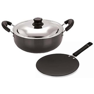 Pristine Cooking Essential Hard Anodised Aluminium Cookware Set, 2 PCS, Black