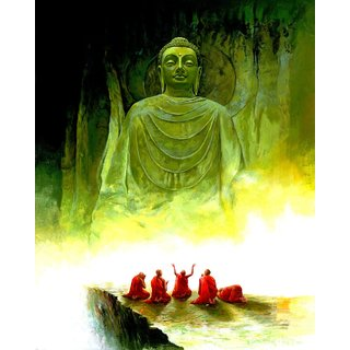 Art Tantra Fine Art Canvas Painting Green Buddha